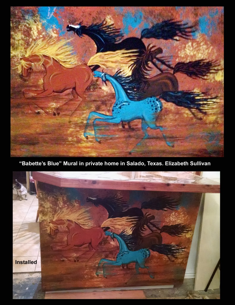 """""""Babette's Blue"""" - a mural I did on wood for a patron who wanted it fit into a specific place in her home."""