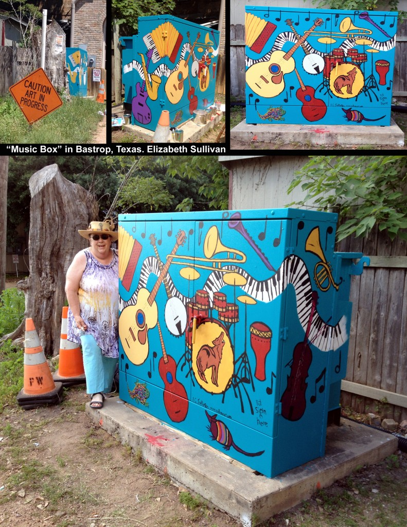 """Music Box"" - my mural on a transformer box in Bastrop, Tx. This mural won the people's choice award for 2015."