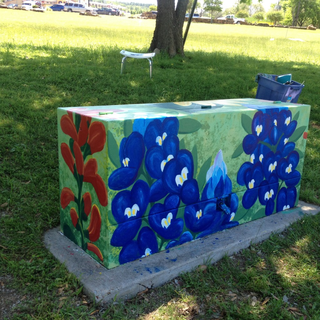 """Wild Flowers"" - a mural on an electrical box in Bastrop, Tx. Photo below shows the other side of the box, and insert shows what the box looked like while I was priming it."