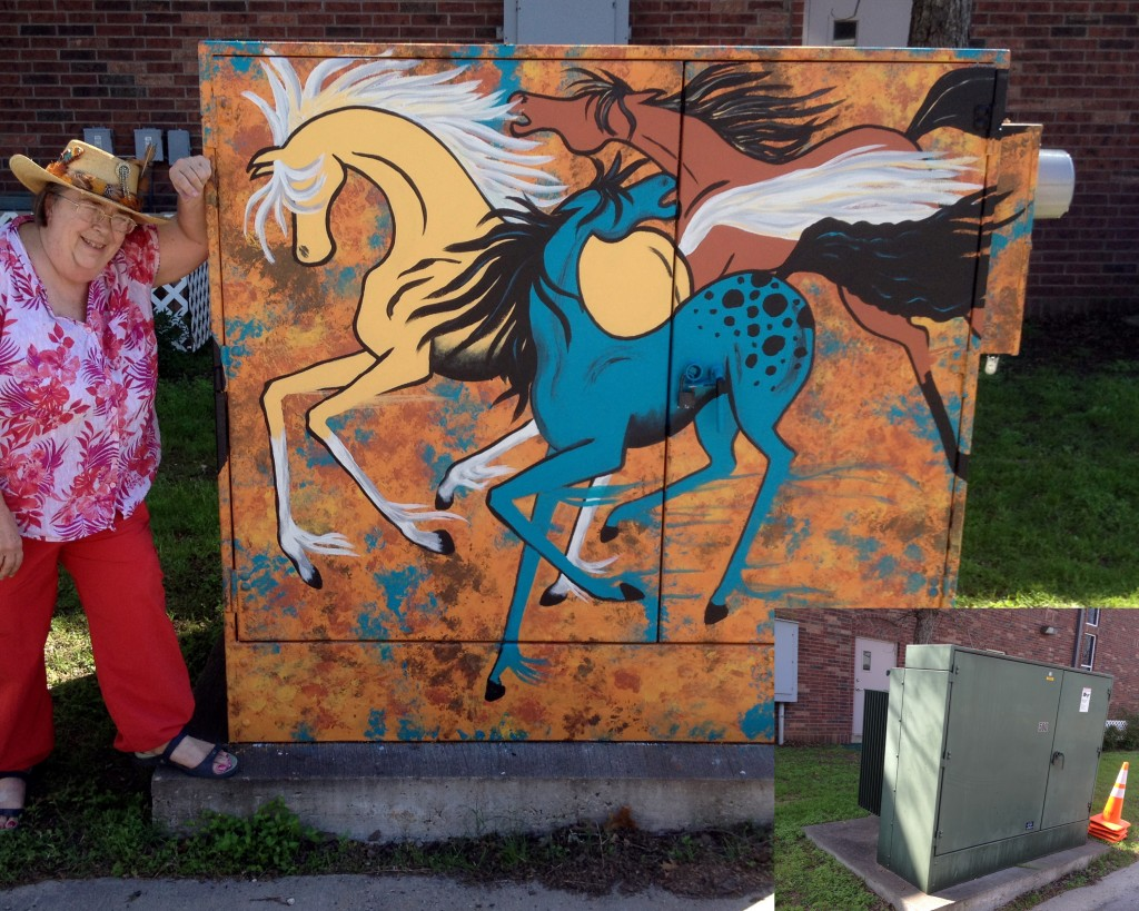 """The artist standing next to """"Wild Horses"""" a mural on an electrical box in Bastrop, Tx. Insert is how the box looked before the mural"""